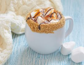 Good morning delicious coffee with peanuts and marshmallows