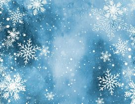 Wonderful blue background full with snowflakes - Winter time
