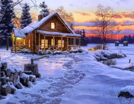 Big snow in the mountains - Wooden cottage warm day