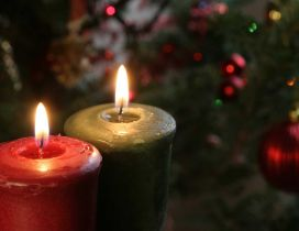Two Christmas candles - Magic winter moments