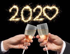 Champagne for a new beginning - Happy New Year 2020 heart