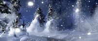 Cold winter night - Snow time over Forest