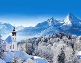 Wonderful winter mountain wallpaper - Berchtesgaden Germany