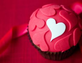Sweet delicious muffin with red and white hearts - Love food