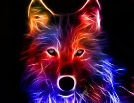 Wonderful 3D wolf Wild Animal in fire - Digital art design