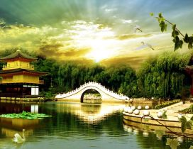 Bridge in Kinkaku - Wonderful nature landscape 3D